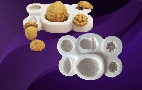 Силиконовый молд  Набор: орехи , желуди.