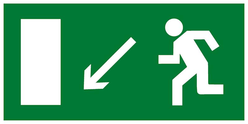 Эвакуационный знак E08 - Направление к эвакуационному выходу налево вниз