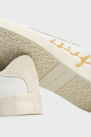 Женские белые кожаные сникеры TH SIGNATURE LEATHER SNEAKER Tommy Hilfiger