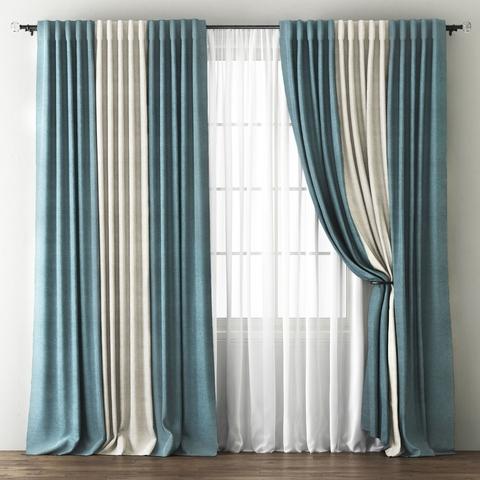 Комплект штор с подхватами Карин голубой-кремовый