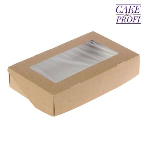 Коробка для сладостей (белый/крафт) 20×12×4см.( 100шт)