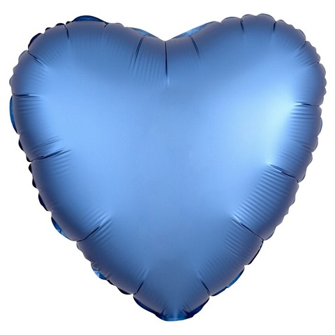 Шар сердце Синий мистик сатин, 45 см