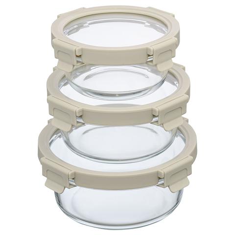 Набор круглых контейнеров для запекания и хранения Smart Solutions, светло-бежевый, 3 шт.