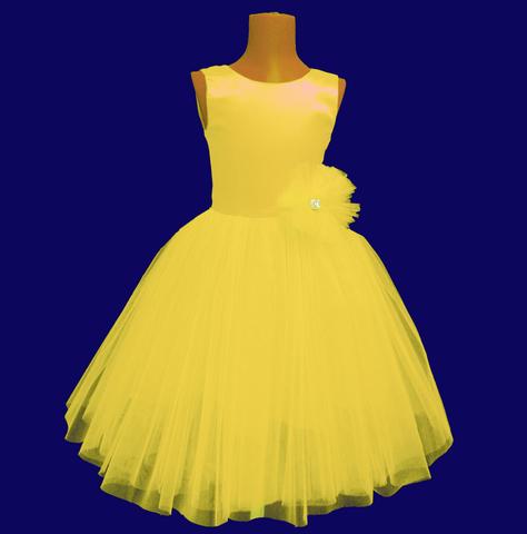 Пышное желтое платье