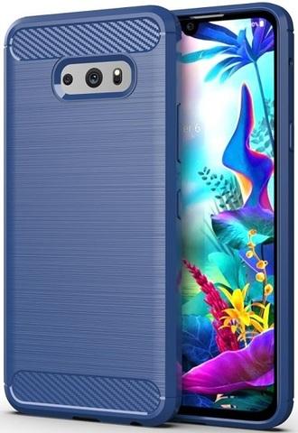 Чехол для LG V50S (G8X) цвет Blue (синий), серия Carbon от Caseport