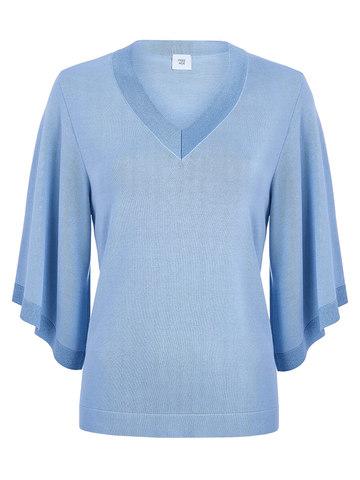 Женский джемпер голубого цвета с v-образным вырезом и свободными рукавами - фото 1