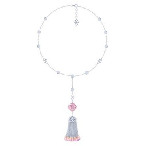 4836 - Сотуар из серебра с кисточкой из цепочек с розовыми цирконами