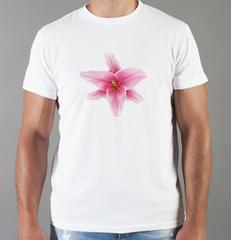 Футболка с принтом Цветы (Лилии) белая 001