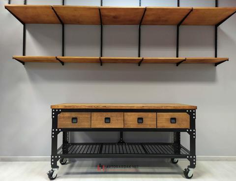 Стол Loft Garage с выдвижными ящиками