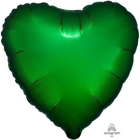Шар сердце зеленый сатин, 45 см