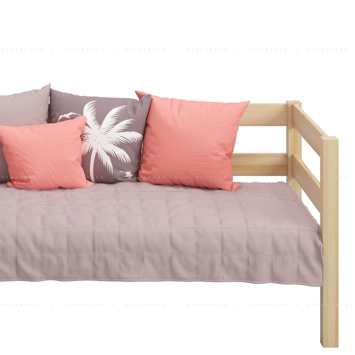 Подушки как вариант создания дополнительного комфорта на кровати с длинным бортиком.