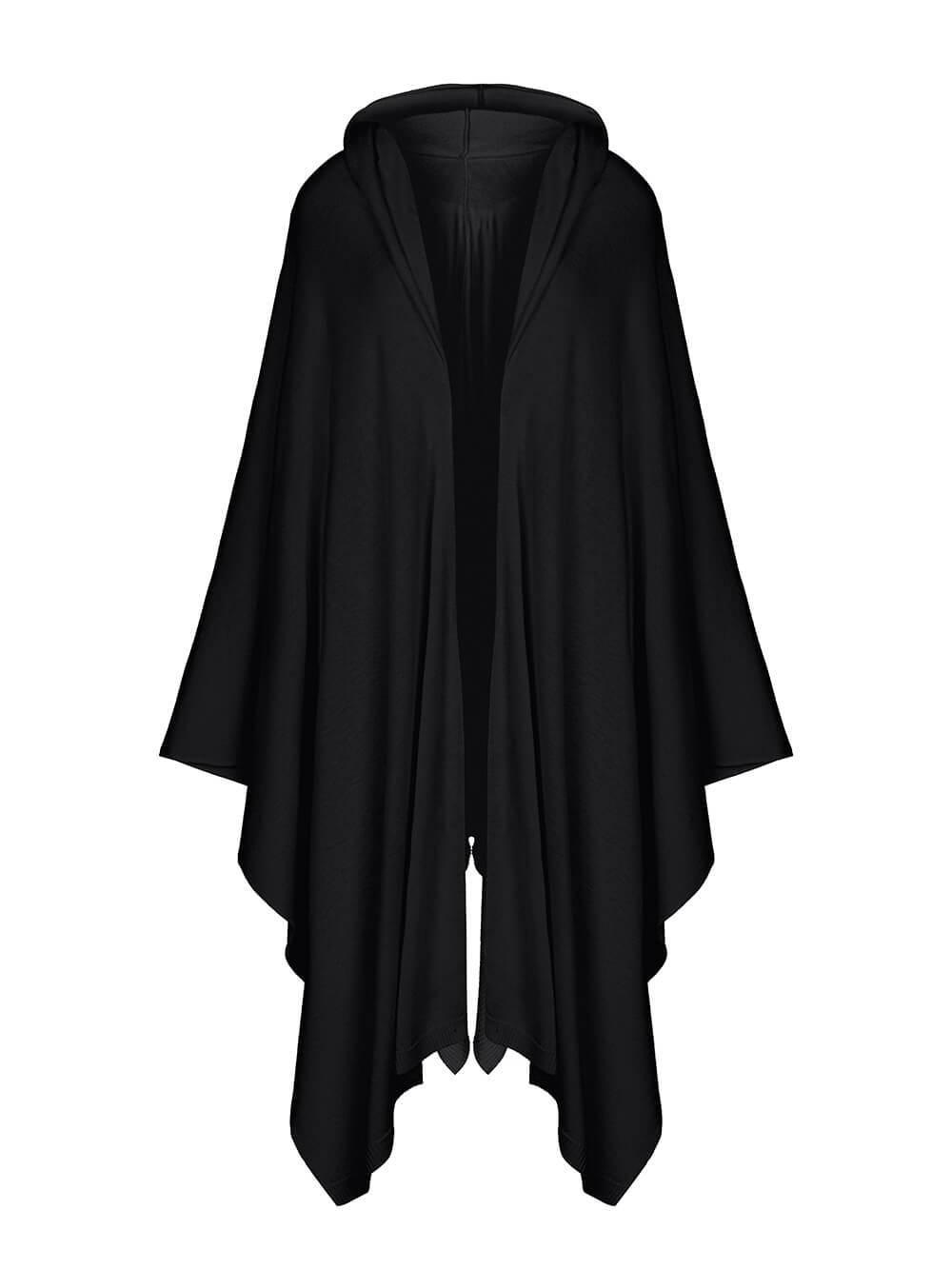 Женский шарф черного цвета из 100% шерсти - фото 1