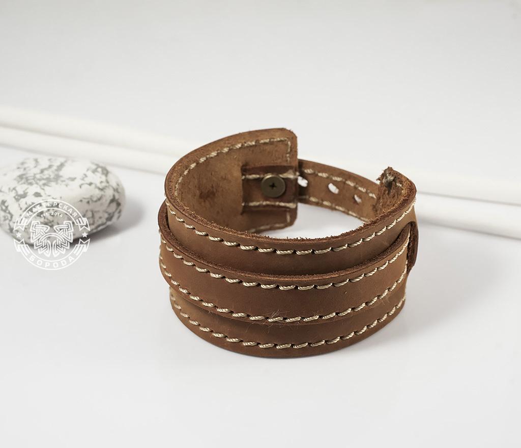 BL390-2 Браслет ручной работы из мягкой натуральной кожи. «Boroda Design»