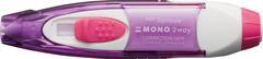 Ручка-ластик и ленточный корректор Tombow Mono 2way. Цвет корпуса: пурпурный, белый и розовый.