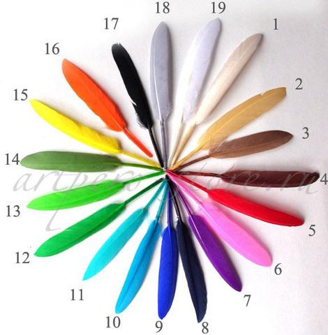 Перья гуся 9-15 см.(10 шт.) (выбрать цвет)