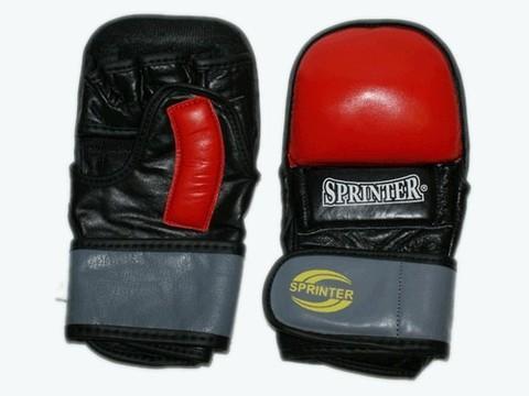 Накладки для рукопашного боя кожа SPRINTER. Гелевые. Цвет красный, желтый.  размер XL. :(462-463 XL):