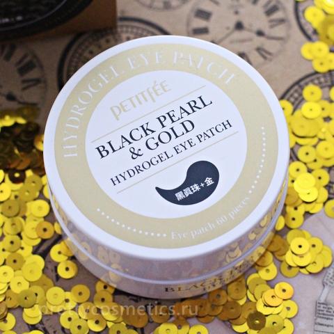 Petitfee Гидрогелевые патчи с черным жемчугом Black Pearl & Gold Hydrogel Eye Patch 60 шт