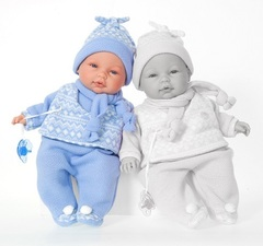 JUAN ANTONIO munecas Кукла Пио в голубом, плачет, 37 см (1448B)