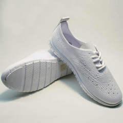 Женские белые кроссовки лето сетка Small Swan NB-821 All White.