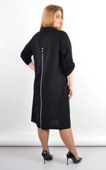 Анита. Удлиненное платье-рубашка плюс сайз. Черный.