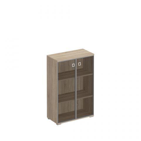 КС 301 Шкаф для документов средний со стеклянными тонированными дверьми в рамке (90.2x44.2x137.8)