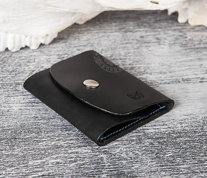WB166-1 Мужской мини кошелек ручной работы из черной кожи фото 04