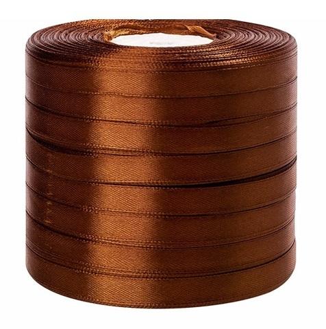 Лента атласная (размер: 10 мм х 50 ярд) Цвет: коричневая