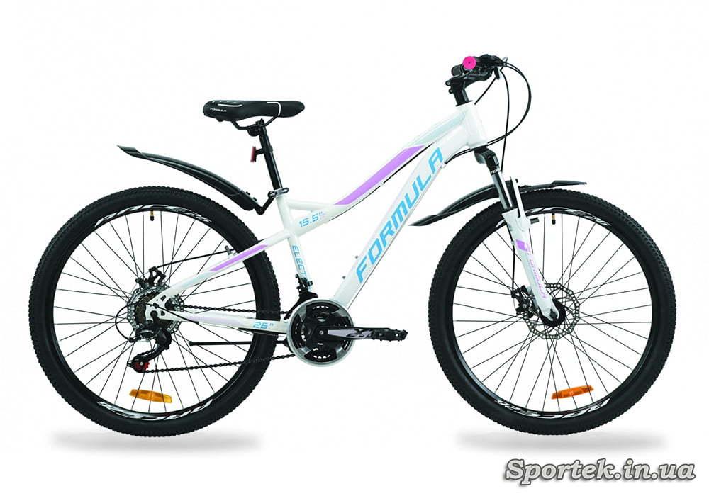 Горный женский велосипед Formula Electra AM DD - бело-голубой с сиреневым