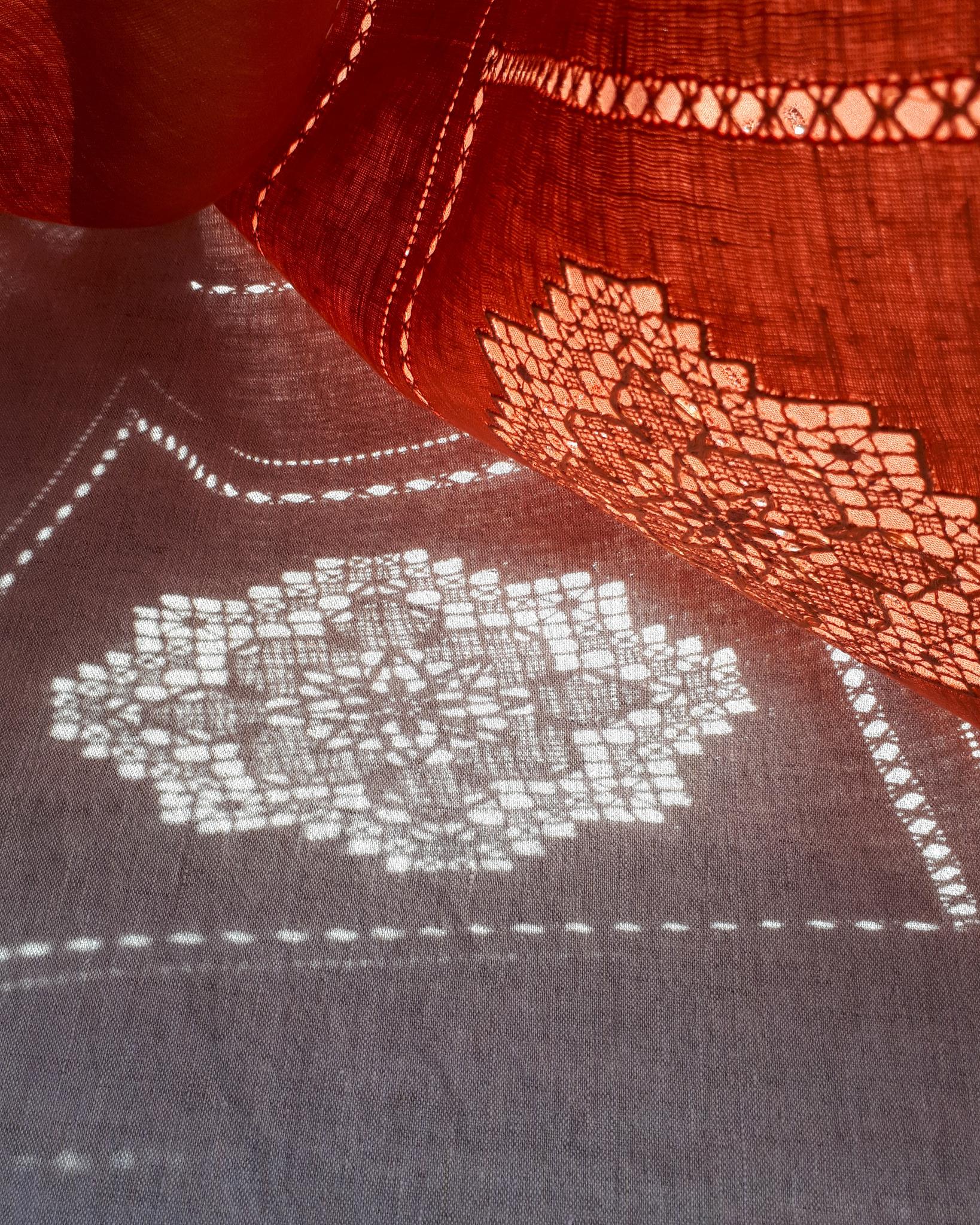 Скатерть  - столешник льняная терракот с ручной вышивкой