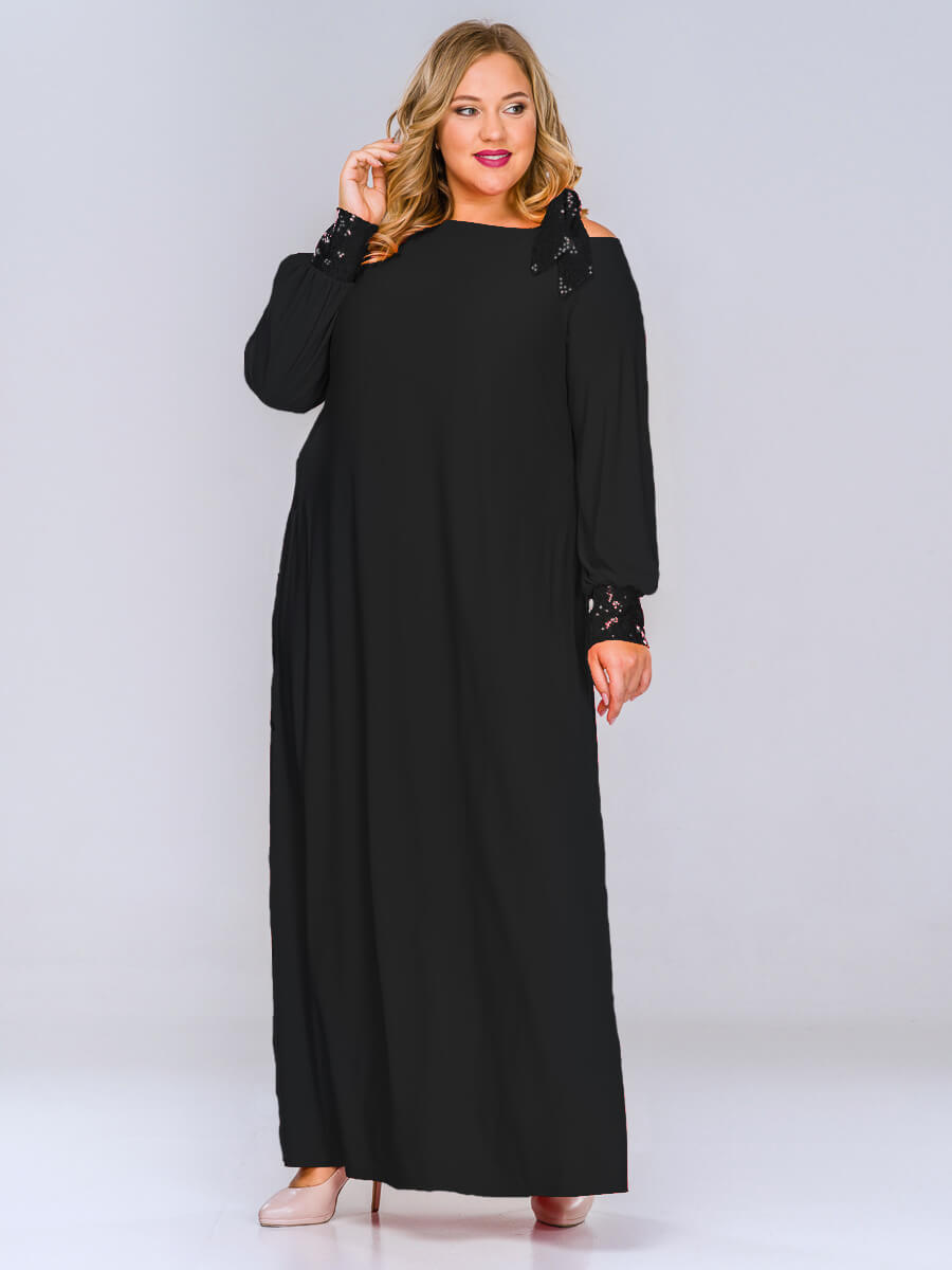 Длинное черное вечернее платье купить