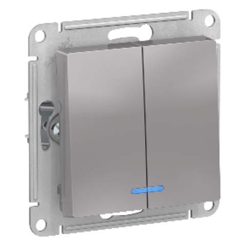 2-кл Выключатель с подсветкой, 10АХ. Цвет Алюминий. Schneider Electric AtlasDesign. ATN000353