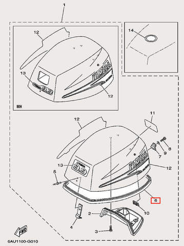 Уплотнитель капота для лодочного мотора F9,9 Sea-PRO (1-6)