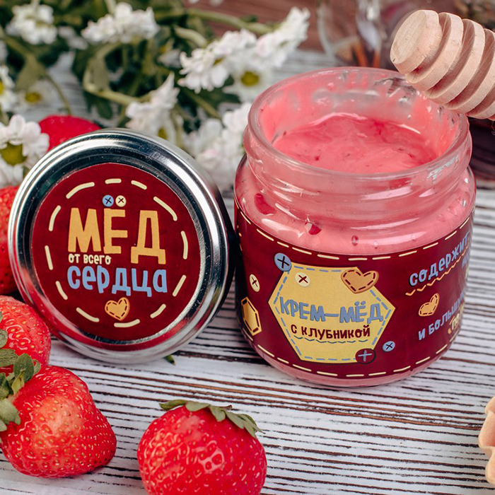 Подарочный крем мед ОТ ВСЕГО СЕРДЦА с клубникой Пермь
