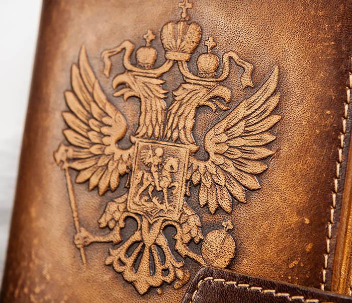 BY11-01-04 Кожаная обложка для документов с Гербом России фото 02