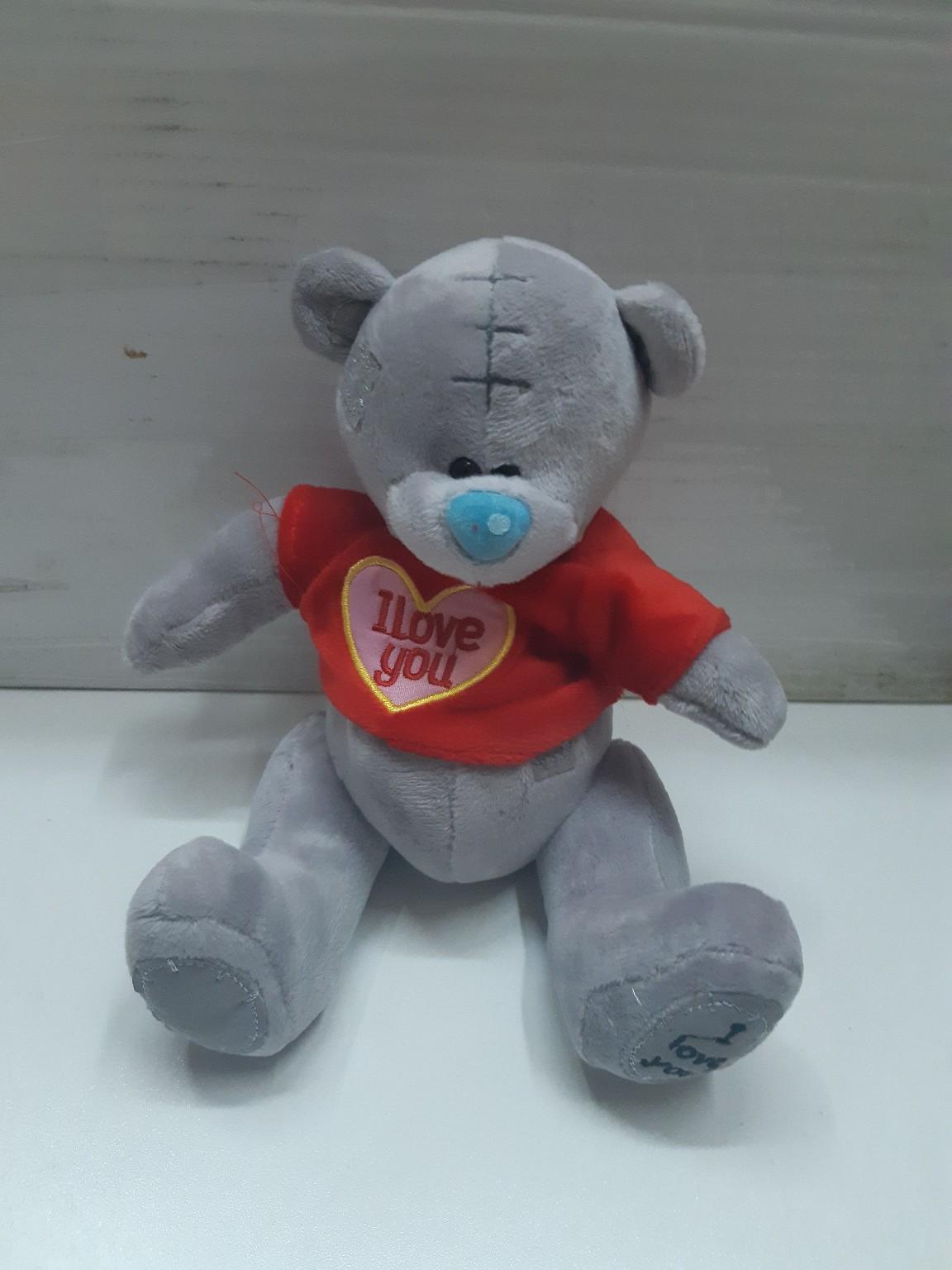 Мягкий мишка Тедди в красной кофте с сердечком в трёх расцветках