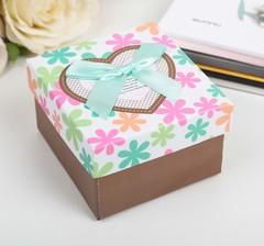 Подарочная коробка коричневая 9х9х6см