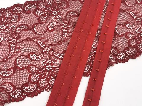 Крючки-петли на ленте, темно-красный,  (Арт: KPL-101)
