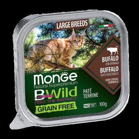 Monge Cat BWild Grain Free Консервы для взрослых кошек крупных пород из мяса буйвола с овощами, беззерновые (ламистер)