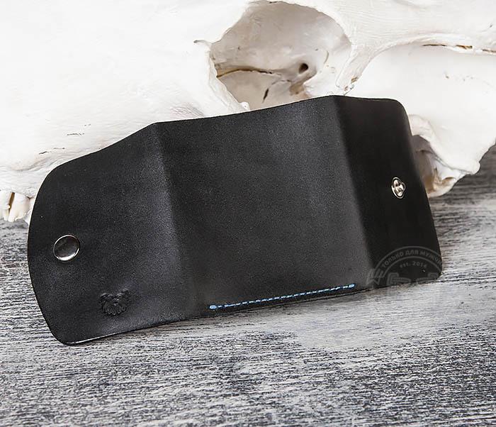 WB166-1 Мужской мини кошелек ручной работы из черной кожи фото 05