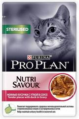 Пауч Purina Pro Plan STERILISED, для стерилизованных кошек и кастрированных котов, с уткой