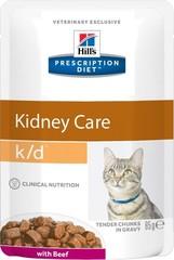 Пауч для кошек, Hill`s Prescription Diet k/d, при заболеваниях почек, с говядиной
