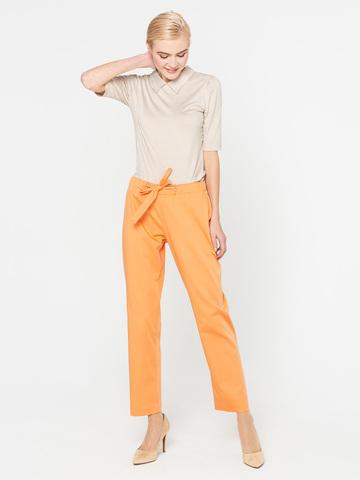Фото оранжевые укороченные брюки прямого силуэта, чуть зауженные к низу - Брюки А402-702 (1)