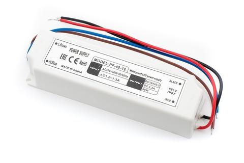 Блок питания 40Вт, 12В, IP67 для светодиодных лент и модулей