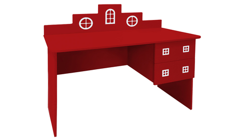детский письменный стол в виде домика красный