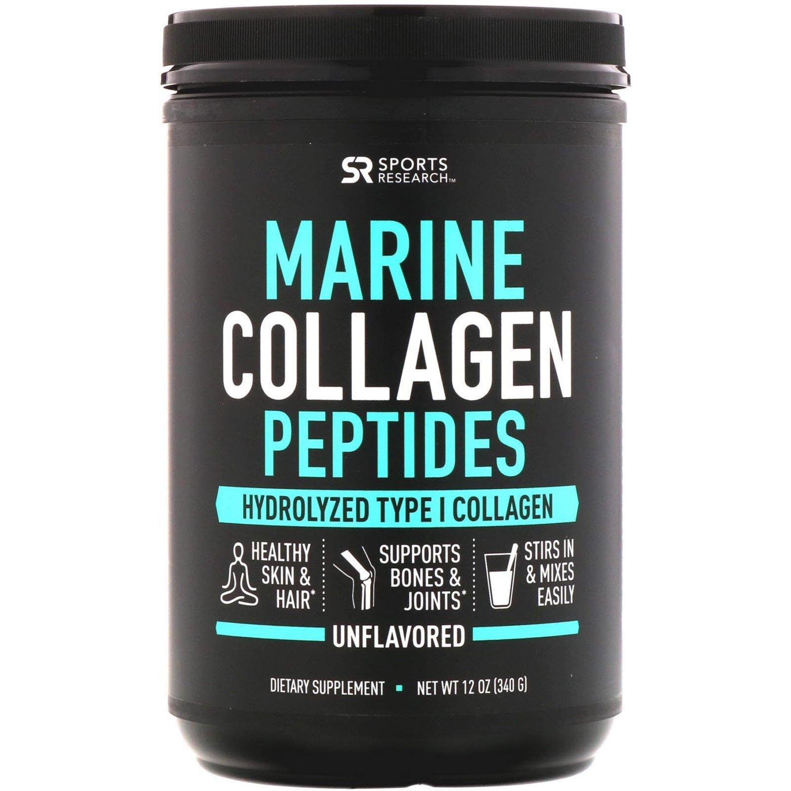 Морской коллаген, Marine Collagen Peptides, Sports Research, 340 г
