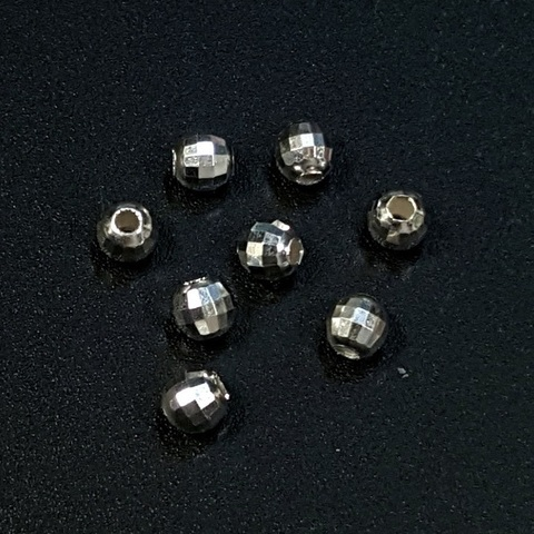 Бусина граненая Диско 3,8 мм серебро 925