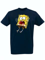 Футболка с принтом мультфильма Губка Боб Квадратные Штаны/ Спанч Боб (SpongeBob SquarePants) темно-синяя 004