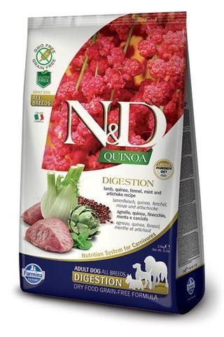 купить Farmina N&D Quinoa Digestion Lamb сухой беззерновой корм - поддержка пищеварения для собак всех пород Ягненок, киноа, фенхель, мята и артишок. Поддержка пищеварения. Полнорационный сухой корм для взрослых собак.