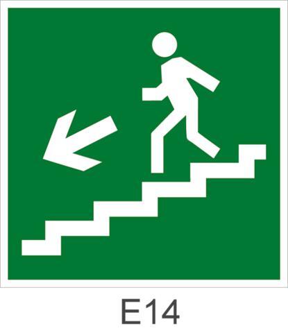 Направление движения эвакуации по лестнице вниз налево - знак эвакуационный Е14