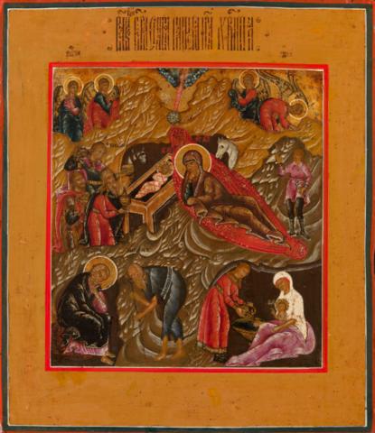 Икона Рождество Христово на дереве на левкасе мастерская Иконный Дом